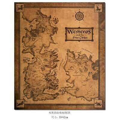 Wall Sticker Game of Thrones Westeros Map Retro Kraft Paper Poster Interior