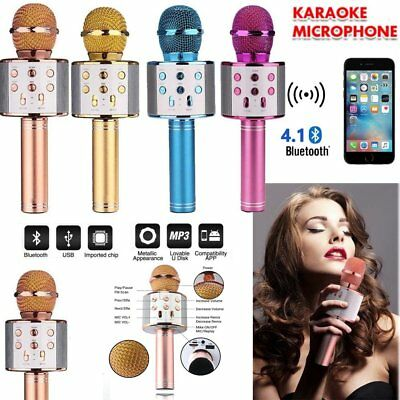 Wireless Bluetooth Karaoke Microphone Speaker Handheld Mic USB Player KTV UK