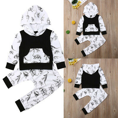 2PCS Toddler Newborn Baby Boy Girl Hooded T-Shirt Tops+Pants Outfits Clothes Set