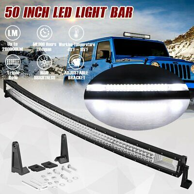 50 inch Curved Triple LED Work Light Bar Flood Spot Combo Offroad SUV ATV 4WD