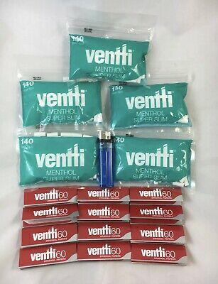 700 Ventti Menthol Filters & 720 Regular Rolling Papers + Lighter Brand New