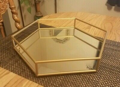 FINE Vintage Large GOLD Metal OCTAGON Shaped MIRRORED Vanity Perfume Tray!