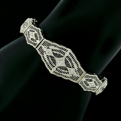 Antique Art Deco Esemco 14k White Gold Diamond Milgrain Filigree Buckle Bracelet