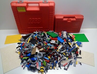 2 LEGO VINTAGE RED Storage Containers & 4.75 pounds of Lego Parts Pieces