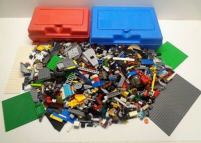 2 Vintage LEGO Red & Blue Storage Containers & 4.75 pounds of Lego Parts Pieces