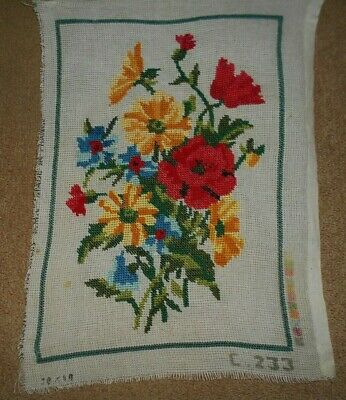 COLORFUL BOUQUET OF FLOWERS COMPLETED TAPESTRY NEEDLEPOINT CANVAS 36X23cm
