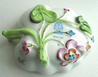 Herend Kimberly Leaf Shape Dish With Relief Decoration & Handle.