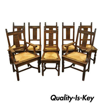 Set of 8 William & Mary Renaissance Jacobean Revival Oak Dining Chairs Rush Seat
