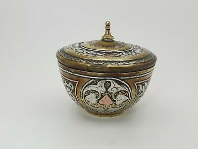 Antique Islamic Middle Eastern Brass Silver & Copper Inlaid Lided Vase Signed