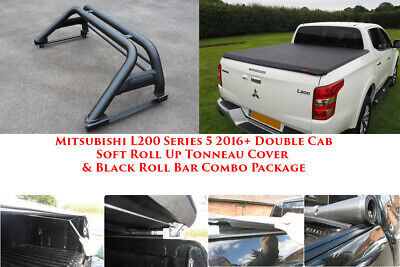 Mitsubishi L200 Black Roll Bar and Soft Tonneau Bed Cover Combo 2016 onwards D/C