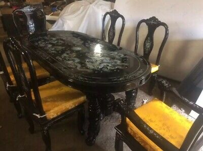 Vintage mother of pearl Ebony Dining table And 6 Chairs All Inlaid beautiful