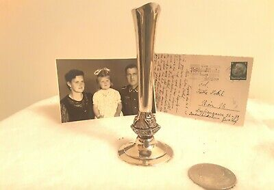 Antique Solid Silver Celtic Style Vase+ Silver Сoin -Trophy WW2 ...F2k34s21M