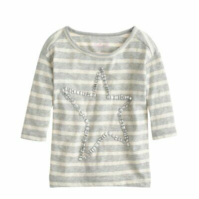CREWCUTS Girl's Crystal Gem Star T-shirt in Stripe Size 14 Heather Gray / Ivory