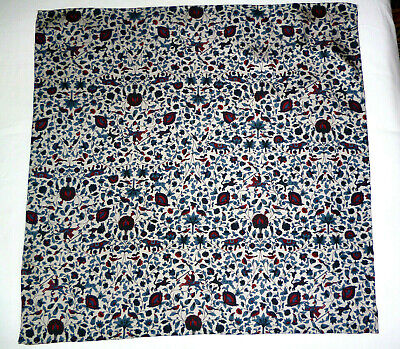Silk mens handkerchief Liberty print Flowers and beasts Palest blue/red/blue NEW