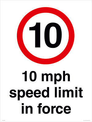 10 MPH SPEED LIMIT  - A4 - FREE DELIVERY - Meets UK HSE Regs