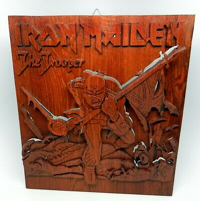 Hand Carved Iron Maiden Piece Of Mind Eddie The Trooper 3D Real Wood Carving