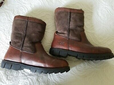 de616c93bd0 MENS UGG AUSTRALIA Beacon Leather Sheepskin Boots Sz 10 - Brown ...