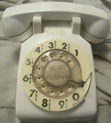 Vintage Bell System Property Western Electric Telephone White  Rotary Dial Phone