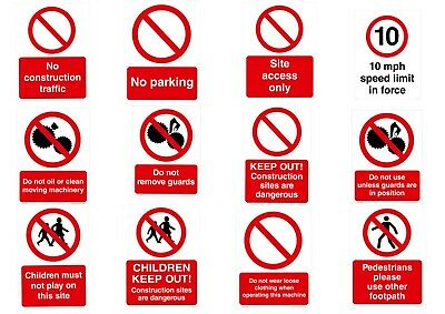 CONSTRUCTION SITE PROHIBITION SIGNS   - FREE DELIVERY - UK HSE Regs