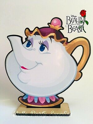 Beauty and the Beast Mrs. Potts Wood Centerpiece Party Table Birthday Decoration