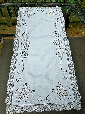 Antique Linen  Runner Scarf  Rose Filet Lace~Reticella Insertion  Lace~Cutwork