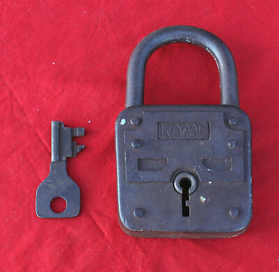Old Rare Large Padlock Kamp With Original Key(Damm & Ladwing Velbert) Germany