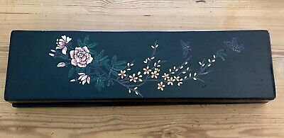 ANTIQUE VINTAGE CHINESE LACQUER FAN BOX Storage Trinkets DRESSER BOX JEWELRY