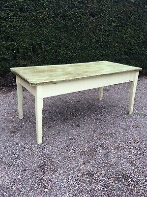 Antique Pine Table Victorian Farmhouse Table Painted Green Wax Top Shabby Chic