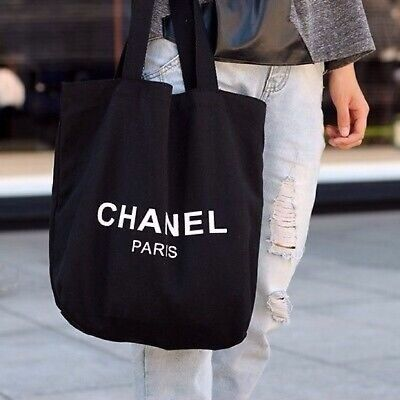 Authentic Chanel Limited Paris CC beauty VIP Gift Black Thick Canvas Tote Bag