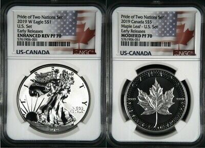 2019 PRIDE OF TWO NATIONS LIMITED EDITION 2 COIN SET, NGC PF70 ER, w/ CofA