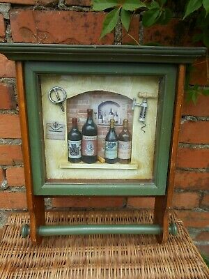 Vintage Wine Bottles  Shadow 3D Box Wall With Kitchen Roll Holder.