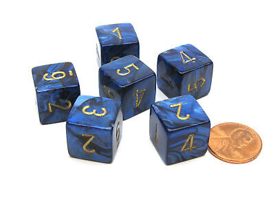 Scarab 15mm 6-Sided D6 Numbered Chessex Dice, 6 Pieces - Royal Blue with Gold