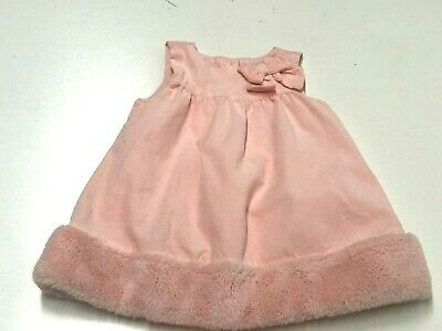 Janie & Jack Baby Girl Corduroy Faux Fur Dress Sze 6-12 Months & Diaper Cover-Up