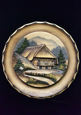 VINTAGE SCHWARZWALD GRUSS BLACK FOREST GERMAN 3D WOODEN PLATE- Wall hang 11""