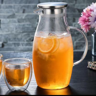 1.8L Glass Water Pitcher Bottle Jug With Lid For Cold Water Milk Juice Carafe