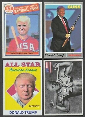 Lot of (4) President Donald Trump Custom Topps Style Baseball Cards w/ Guns USA