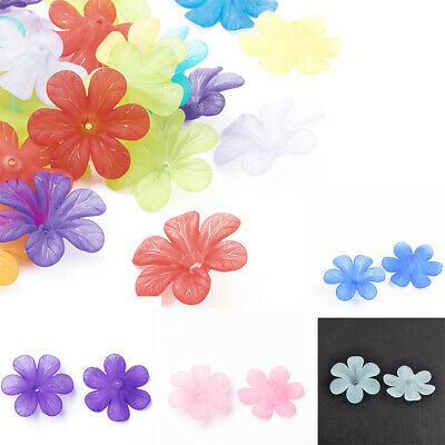 300pcs/500g Transparent Flower Acrylic Beads Frosted Beads Jewelry Making 33x8mm