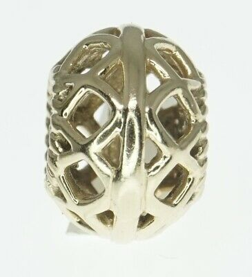 14K Yellow Gold ALE Pandora Charm Bracelet Bead Open Lattice Retired