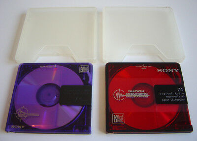 2 X Sony Minidiscs Md Minidisc 74 Min Recordable Digital Color Collection Used