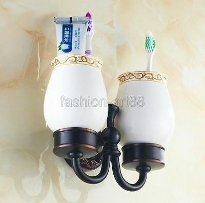 Oil rubbed Bronze Wall Mount Bathroom Tooth brush Holder Ceramic Cup  fba472