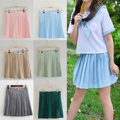 Women School Uniform Skater Skirt High Waist Pleated Skirt Tennis Girls Dress