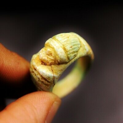 Rare Antique Stone Ring with Scarab Beetle Amulet of Ancient Egyptian