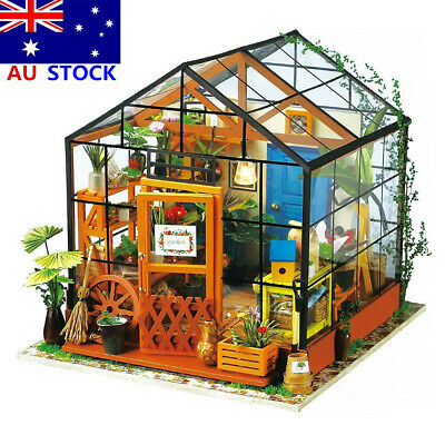 DIY Imagine 3D House Model Kit Greenhouse Miniature LED Light Dolls House Build