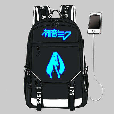 Anime Hatsune Miku Cosplay Schoolbag Casual Backpack Shoulders Luminous bag