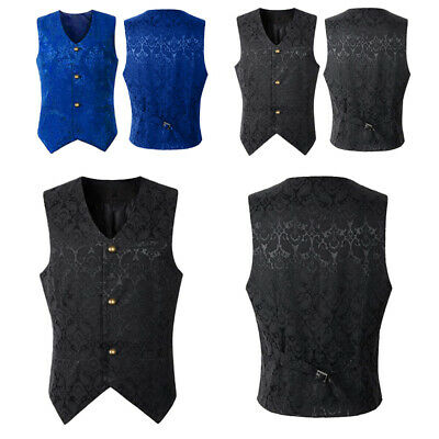 Classic Damask Waistcoat Suit Vest Mens Top For Wedding Party S-2XL