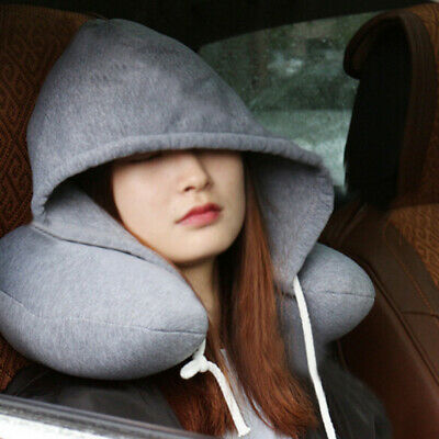 U-Shaped Travel Pillow Neck Support Head Rest Car Airplane Hooded Cushion FW