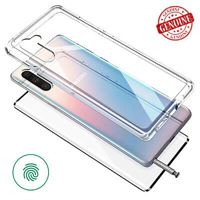 For Galaxy Note10 / Note 10 Plus Clear Hybrid Hard Case Curved 9H Glass Screen