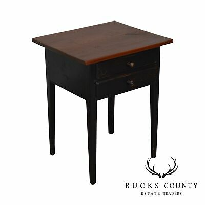 Roger S. Wright Custom Country Hand Crafted Crackle Painted 2 Drawer Side Table