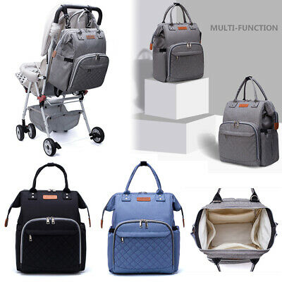 Baby Diaper Nappy Mummy Changing Bag Backpack Multi-Function Bag Rucksack Grey