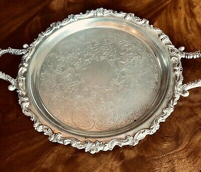 Large Vintage Silver Plated Serving Tray Twin Handled.   Victorian Style